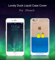 Liquid Lovely Duck Shell Hard Back Case Colorful Dynamic Sea World Swimming Duck Transparent clear Cover for iphone 5