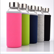 heat resistant high borosilicate glass sport water bottle with sleeve