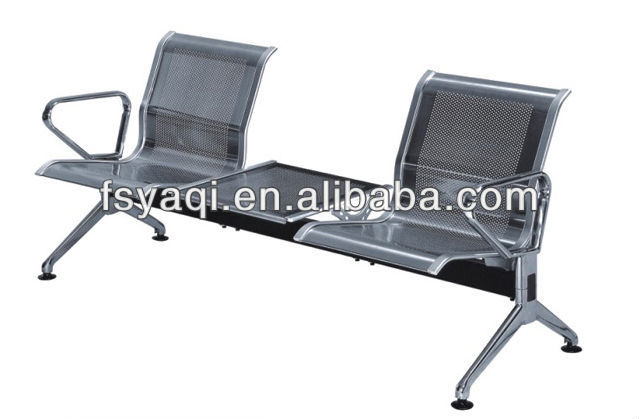 Stainless steel waiting room bench seating 2-seater with tea table YA-80