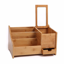 Natural Bambo Desktop File Organizer with Lid and Storage Drawer Office Supplies Display Shelf Rack