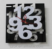 elegant acrylic black base and white art letter clocks factory supply wholesale