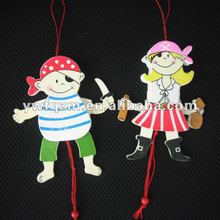 pirate design wood string doll for children