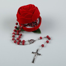 Huanan Cheap Catholic Rosary Jesus Cross red wooden rosary crucifix