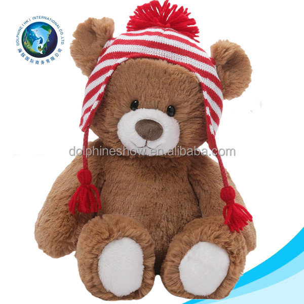 Promotional gift new toys for christmas 2016 wholesale custom cute christmas stuffed soft toy plush teddy bear with santa hat