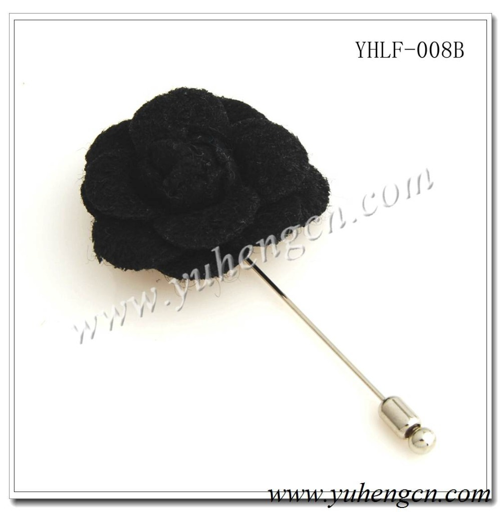 YHLF-008B Fashion Black Camellia Flower Pins,Lapel Flowers,Brooches,Various Colors Available