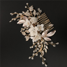 Beautiful Design White Porcelain Flower <strong>Hair</strong> Side <strong>Accessories</strong> Bridal Headpiece Women Party <strong>Hair</strong> comb