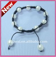 fashion cheap pearl bead shamballa bracelet