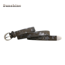 China hot sell european fashion brown pu leather belt for lady