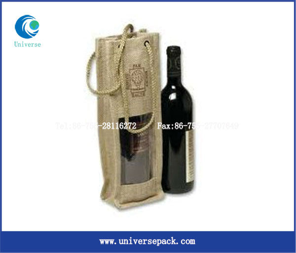 Natural jute side gussets wine bottle bag