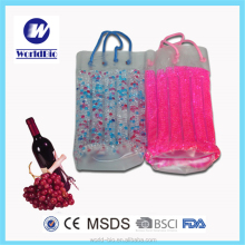 Portable Plastic Beads Wine/ Beer Bottle Cooler Bag