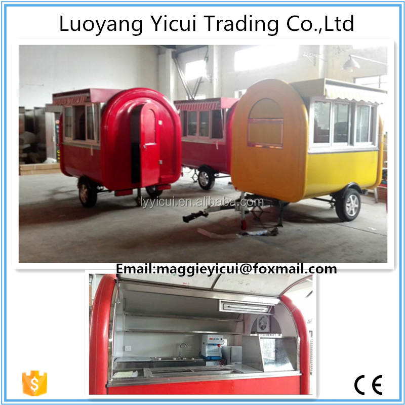 Fast food carts selling food truck for sale/best quality mobile kitchen trailer/mobile restaurant trailer