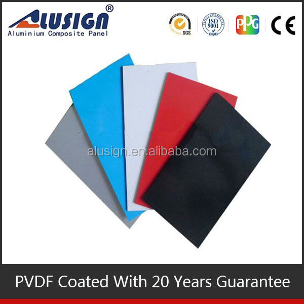 Alusign flat layout aluminum composite panel color chart for wall cladding decoration acp sheet