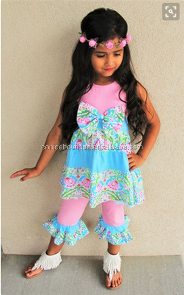 Popular style floral bowknot children's clothing kids apparel for wholesale