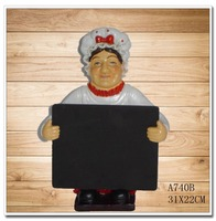 European ornaments resin ornaments opening gifts blackboard Female Chef restaurant kitchen Cafe message board notes menu board