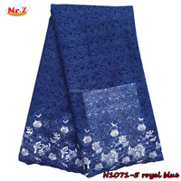 royal blue beaded lace fabric net embroidered french lace N1071