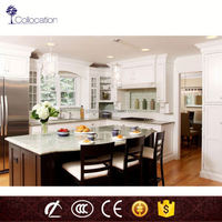 wood grain melamine chipboard/PVC thermofoil faced MDF simple cheap display kitchen cabinets for sale