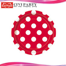 red color white spot round or square dinner plates