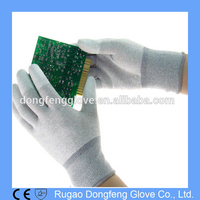 13G Electronic Safety Work Anti Static Gloves,Lint Free Cleanroom PU Top Fit ESD Gloves