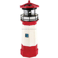 Solar Powered Lighthouse Rotating Lamp Garden Decor Yard Resin & Plastic
