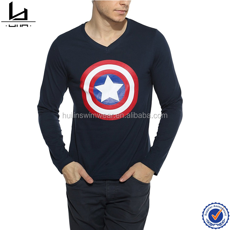 V neckline captain America man tee united usa t shirts men t-shirt print with long sleeves