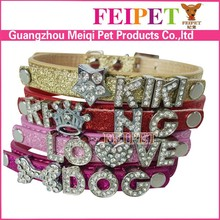 DIY designer pet collar with letter good quality cheap cat collars dog collar with name