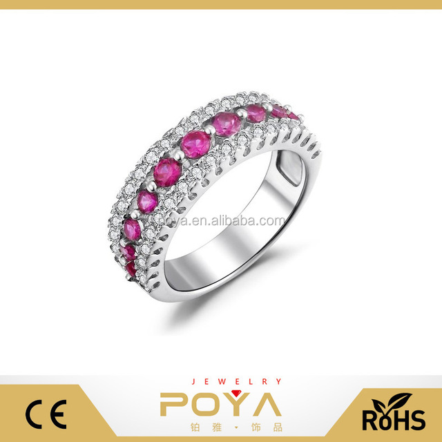 Sterling Silver Round Cut Cubic Zirconia Created Pink Sapphire Fashion Ring