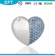 Heart Shaped Diamond Blue Custom Logo KeyChain USB Flash drive