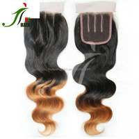 Global Competitive Price Malaysian Human Hair Lace Closure 4*4 With Two Tone Color