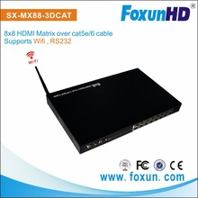 SX-MX88-3DCAT with WIFI 1080P 3D Video HDMI Matrix 8x8 over Dual Cat5e/6 up to 30m hdmi matrix switch 8x8