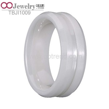 White Zircon Ceramic Blank rings for inlaid