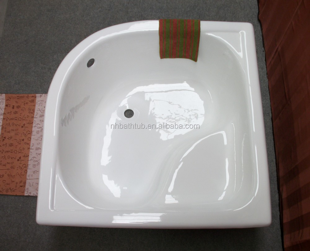 Corner square enameled cast iron bathtub/shower tray