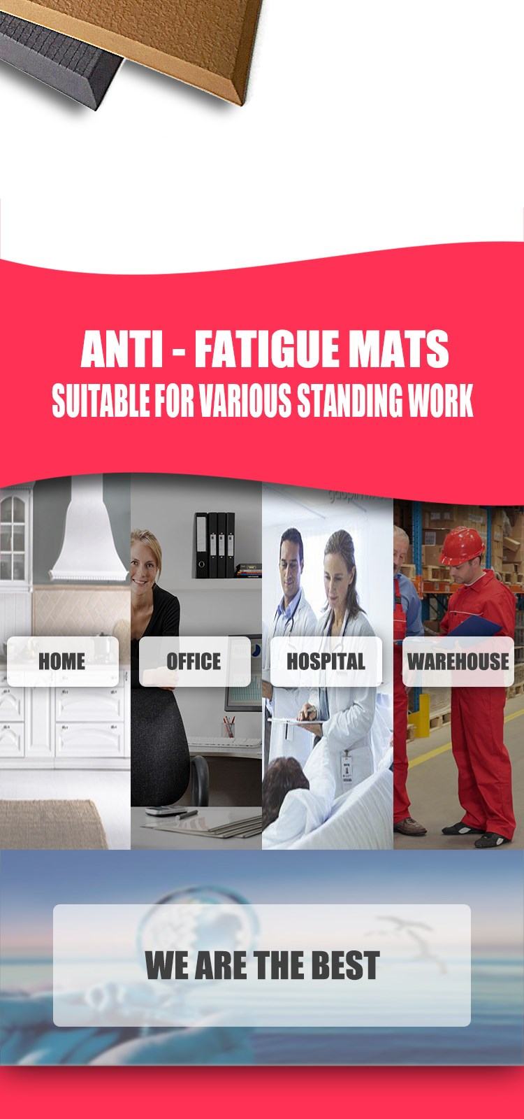 Factory non-slip anti fatigue mat for standing desk