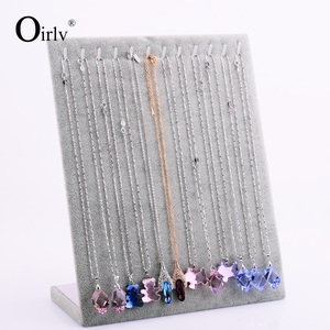 China wholesale custom silver gray color velvet pendant/long chain hanger jewelry display for cabinet jewelry display rack