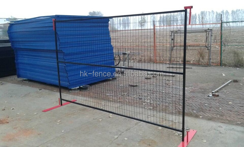 6x10ft vinyl coated temporary construction site fencing panel for Canadian market including one base and one top U clip