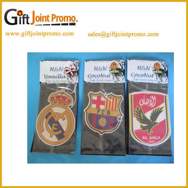 Promotional logo printed fruit smell hanging paper air freshener