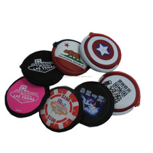 custom printed mini wallet/purse handbag, mini round shape pouch, small coin purse for promotion