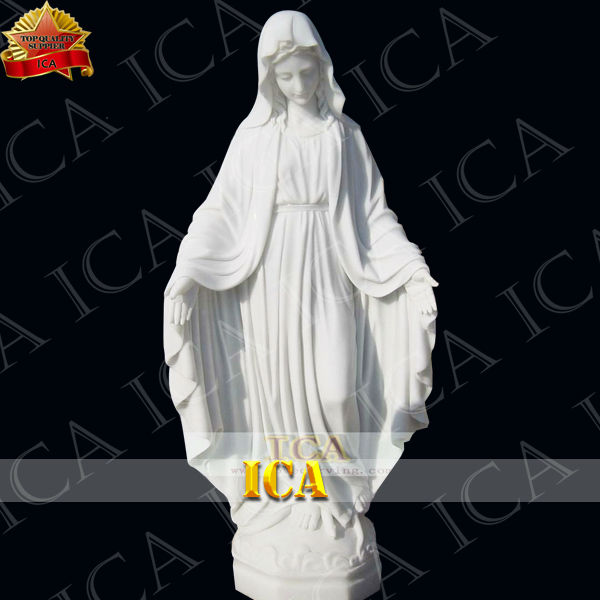 hand carved white marble religion sculpture Maria statue RLA0032
