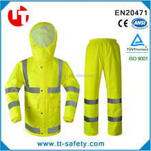 high visibility fluorescent waterproof rainsuit safety reflective raincoat
