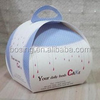 Ivory board cake box /cake paper packaging box with handle