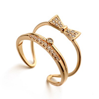 Lead of fashion new design 2 layer butterfly lover flower bowknot ring with gold plated, small open ring for students