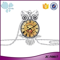 Cheapest price alloy glass owl pocket watch pendant necklace