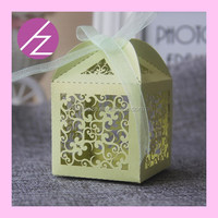 look!! new arrival green custom wedding favor box with flower TH-8