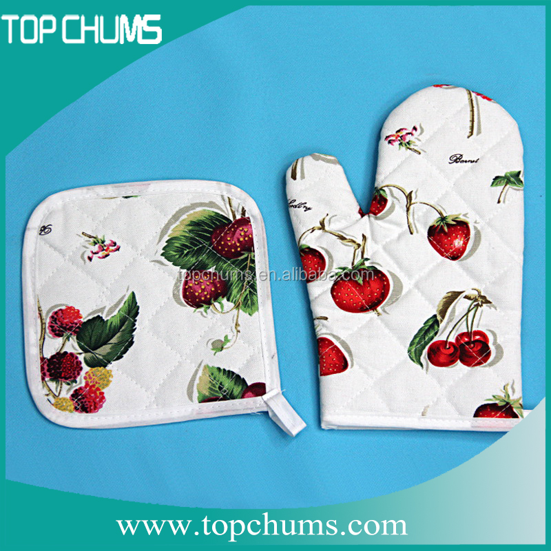 Heat resistant pot printed kitchen glove stand,pot holder designs,industrial oven glove