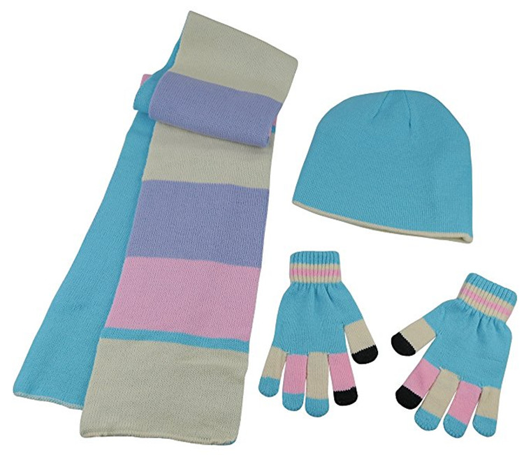 Knitted Caps Kids Reversible Knitted Hat/Scarf/Magic Stretch Glove Accessory Set