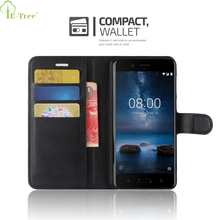 Wholesale Smartphone Colored Litchi Grain Leather Flip Cover Wallet Case For Nokia 8