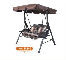 Patio Swing Canopy Bench with Steel Frame Outdoor Garden Yard Cushion Chair Set