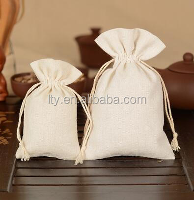 Natural Color Cotton Muslin Small Drawstring Jewelry Pouch