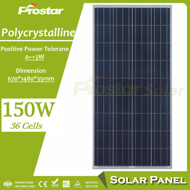 Prostar 150w solar panel chinese photovoltaic panels prices