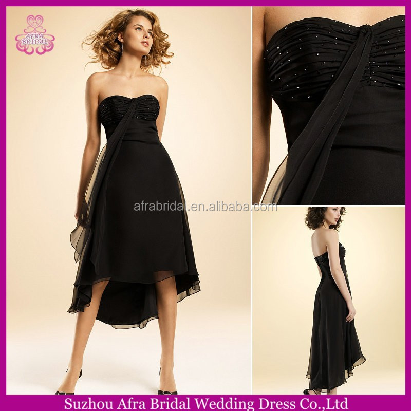 SD1789 sexy black evening dresses short front long back high low black bridesmaid dress