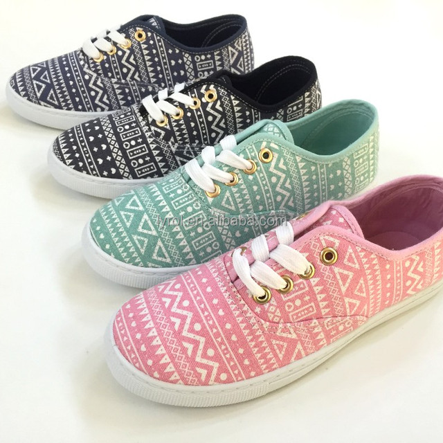 4 colorways ethnic aztec trend lace up injection shoe comfort cheap women casual canvas shoes ladies flat shoes
